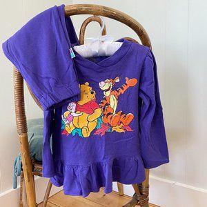 Vtg Toddler Girls Winnie the Pooh Purple Sweatsuit